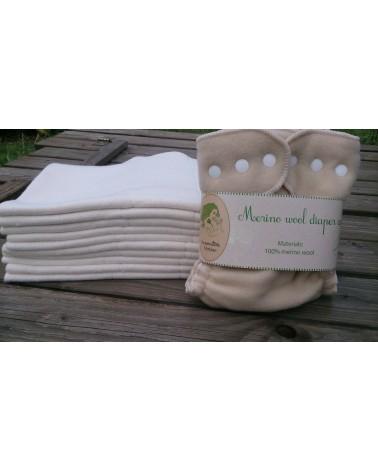 10 pc hemp organic cotton prefolds set + 1 pc merino wool cover with snaps