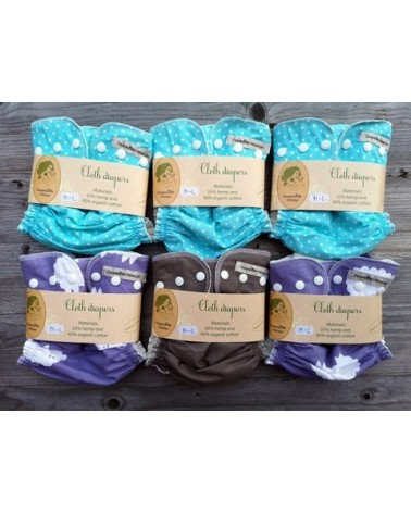 6pc hemp-cotton cloth diaper set/pack + wool diaper cover for free / M-L / pocket cloth nappy with insert
