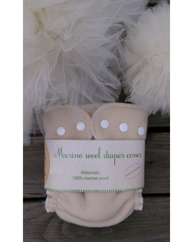 "Sandy natural ""All-in-one"" cloth diaper with wool fitted panties and hemp inserts"
