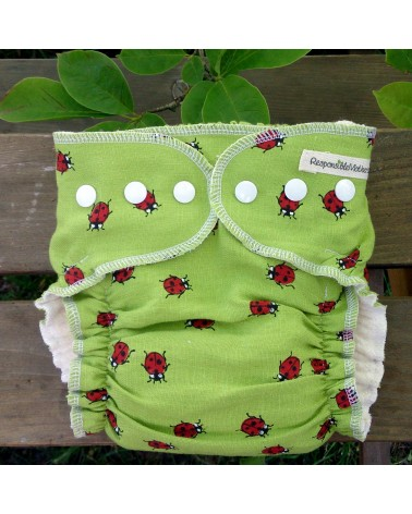 Linen, hemp-cotton diaper, ladybirds in green print